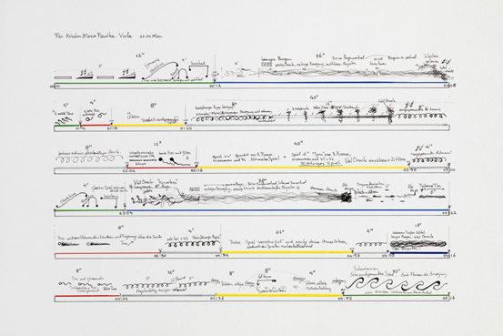 William Engelen, Zeichnung aus: Verstrijken für Kirstin Maria Pientka, Viola, 2007 Bleistift und Farbstifte (Acryl) auf Papier (Serie von 8 Zeichnungen), 42,0 x 59,4 cm Sammlung Schering Stiftung im Kupferstichkabinett, Staatliche Museen zu Berlin