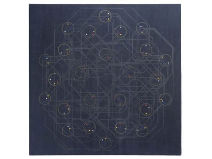 Cartography of Phylogenetic Trees, 2014, Graphite, oil, and ink on acrylic primed panel, 60 x 60 cm