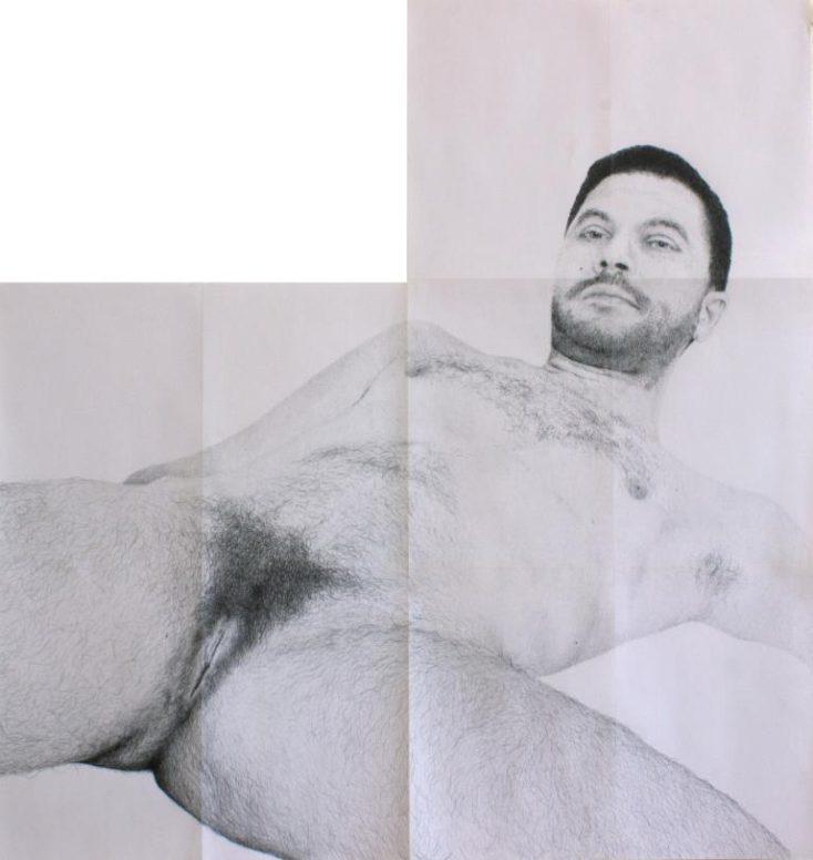 Michael Müller, SELBSTBILDNIS, 2015 (Detail), Bleistift auf Papier, Marmor, Farbe