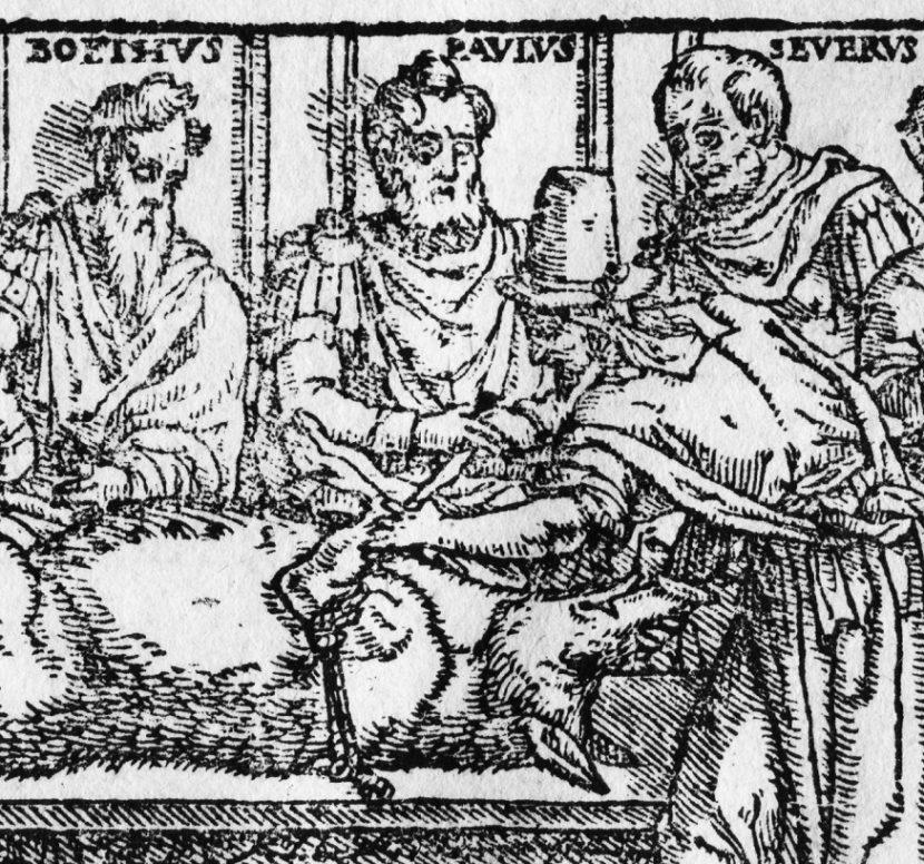 Galen als Vivisektor. Ausschnitt aus der Rahmenillustration des Titelblattes der 9. Galen-Juntina, Venedig 1625.