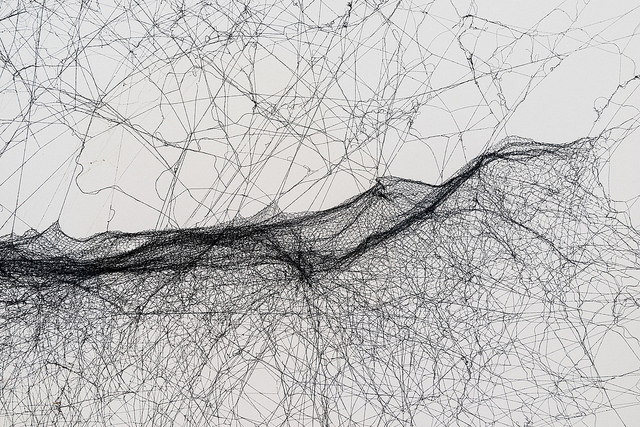 Tomás Saraceno: Solitary semi-social mapping of EPIC 205071984 c by a solo Nephila senegalensis - two weeks and a quartet of Cyrtophora citricola - five weeks, Courtesy the artist's personal collection