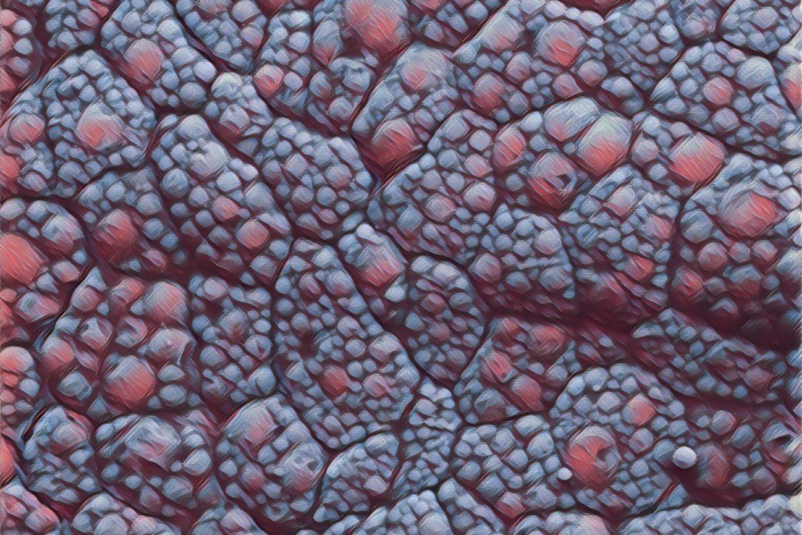 Elektronenmikroskopische Aufnahme von braunem Fettgewebe, farbveränderte Darstellung